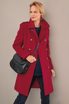 Our opulent, rich red coat offers a nod to military styling. ∙ Double breasted · Front & back panels · Welted side pockets · Bust darts · Centre back seam & vent · Shoulder epaulettes · Fully lined Double Breasted, Blazer, Coat, Winter, Red, Jackets, Fashion, Winter Time, Down Jackets