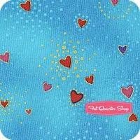 Laurel Burch Basics Aqua Metallic Hearts Yardage<BR>SKU