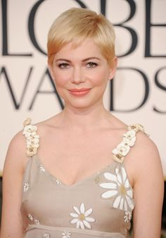 Michelle Williams Short Hair Styles For Round Faces, Hairstyles For Round Faces, Pixie Hairstyles, Cute Hairstyles, Wedding Hairstyles, Cropped Hairstyles, Hairstyle Men, Pixie Haircuts, Formal Hairstyles
