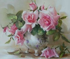 painting by artist Jill Kirstein Flower Vases, Flower Art, Flower Arrangements, Art Floral, Watercolor Rose, Watercolor Paintings, Painting Wallpaper, Rose Art, Love Rose