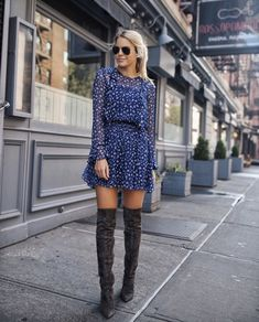 Grey thigh high boots outfit with blue dress. Image ©️️StyledSnapshots Grey thigh high boots outfit with blue dress. Thigh High Boots Outfit, Over The Knee Boot Outfit, Dress With Boots, Knee Boots, Short Boots Outfit, Casual Winter Outfits, Winter Dresses, Trendy Outfits, Fall Outfits