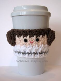 FREE Crochet Princess Leia Cup Cozy pattern by The Enchanted Ladybug