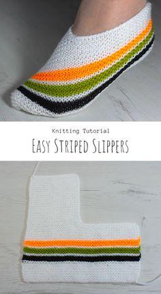 Easy Knitting, Loom Knitting, Knitting Stitches, Knitting Socks, Knitting Patterns, Knitted Socks Free Pattern, Crochet Socks, Knit Crochet, Striped Slippers