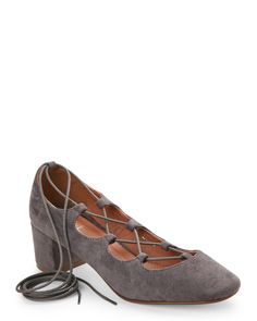 G.C. Shoes Grey Zatriz Square Toe Lace Up Heels