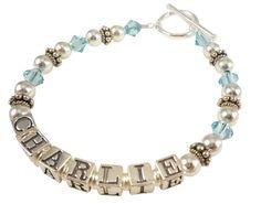Aquamarine Mother's Bracelet or any birthstone by NameBracelets