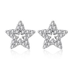 White Gold Plated Stars in the Sky Studs