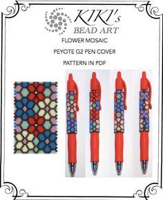 Pattern, peyote pen cover Flower mosaic peyote pattern for pen wrap, pattern for G2 pen by Pilot - PDF instant download                                                                                                                                                                                 More
