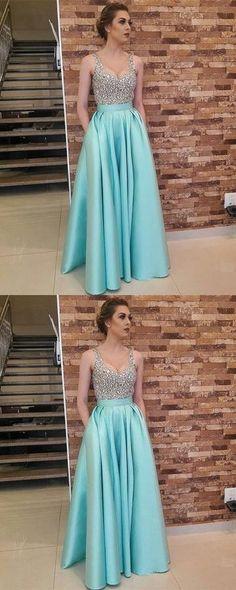 Charming Crystal Beading Prom Dress, Floor Length Long Prom Dress