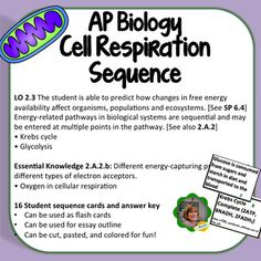 004 AP Biology Learning Objectives Study Cards (B/W
