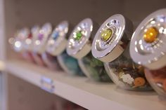 cute way to store buttons. amazing craft room!!!