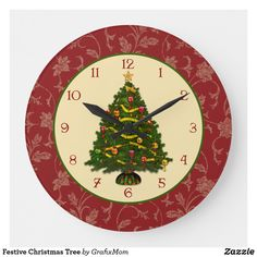 Festive Christmas Tree Large Clock Christmas Clock, Rustic Christmas, Christmas Card Holders, Vintage Christmas, Christmas Cards, Retro Christmas Decorations, Christmas Themes, Rustic Wall Clocks, Diy Clock