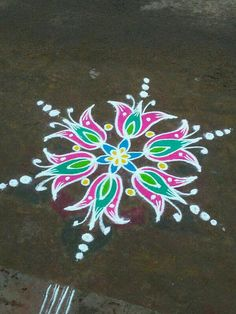 Rangoli Designs Latest, Latest Rangoli, Colorful Rangoli Designs, Rangoli Designs Images, Beautiful Rangoli Designs, Rangoli Borders, Rangoli Border Designs, Rangoli With Dots, Simple Rangoli