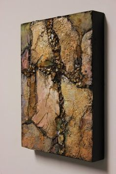 """""""Crevice"""" 8x6 geologic abstract by Carol Nelson This heavily textured mixed media geologic abstract was a demo for some students wo..."""