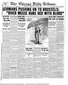 Aug. 19, 1914: Germans pushing toward Brussels.