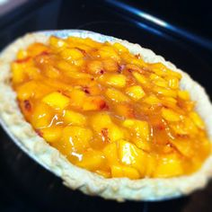 No-Bake Peach Cream Cheese Pie! Cheesecake on the bottom, fresh peaches on the top. You can even mix it up and try it with a different fruit!