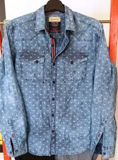 Washed indigo dobby shirt