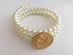 Vintage Gold Anchor/Navy Pearl Button Bracelet by OldSoul50
