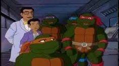 Raphael, Leonardo, Donatello & Michelangelo with Professor Huxley & his son; Ronnie.