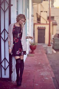 short dress + oversized cardigan + high wool stockings