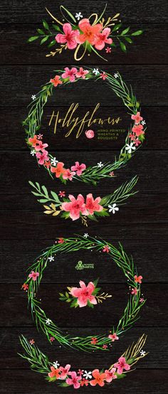 This set of 6 high quality hand painted watercolor floral Bouquets and Wreaths in Hires. Perfect graphic for wedding invitations, greeting cards,