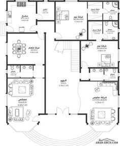 خرائط الفيلا DY-04 - غرف نوم 6 أبعاد المسكن 18.30م عرض20.60م عمق 2bhk House Plan, Square House Plans, 3d House Plans, House Plans Mansion, Model House Plan, House Layout Plans, Duplex House Plans, Family House Plans, Luxury House Plans