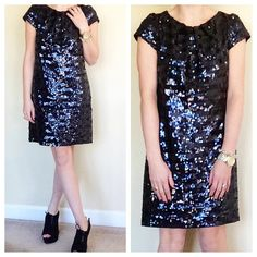 Milly Black & Navy Sequin Shift Dress ❌NO TRADES❌  - Milly Black & Navy Striped Sequin Dress Sz 2  - Full Sequin Shift Dress w/ detachable black slip  - 95% Nylon, 5% Spandex  - Great Used Condition Milly Dresses Mini