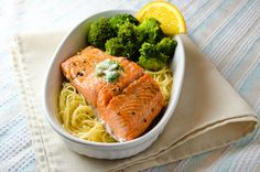 citrus baked salmon with cilantro butter.... really good. also added scallions to the butter and it was the best part :)