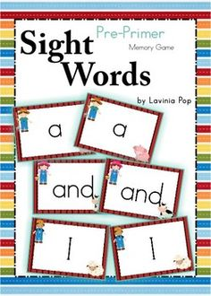 Sight Words - Memory Game (Pre-Primer Words) {FREE}. Print, laminate, cut cards apart and you're ready to go.