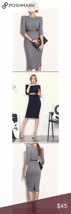 """5 ⭐️ rated Midi Dress with mesh on the waist. Dress with mesh on the waist: - size Medium ( Length 42.9"""", bust 29.9-41.7"""", waist 25.1-34.6"""", sleeve 18"""") - size Large ( Length 43.3"""", bust 31.4-43.3"""", waist 25.9-35.4"""", sleeve 18.5"""") Available in black and gray. Dresses Midi"""