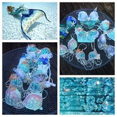 Custom Mermaid Bra Rave Bra Rave Outfit Made by seagypsycouture Rave Festival, Festival Wear, Festival Outfits, Festival Fashion, Mermaid Bra, Mermaid Tails, Mermaid Makeup, Electric Daisy Carnival, Rave Gear