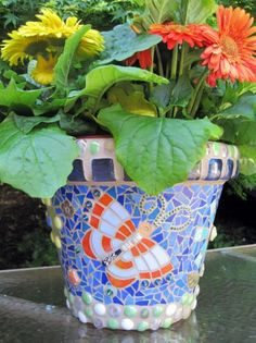 Mosaic Flower Pots – Q is for