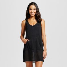 Women's Sleeveless Pullover Dress Cover Up - Black - XL - Merona