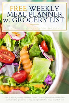 Tired of wasting money and food? Then it's time to get this free weekly meal planner with a grocery list to help. Also grab the free fridge inventory too! Hcg Diet Recipes, Lunch Recipes, Easy Dinner Recipes, Whole Food Recipes, Healthy Recipes, Paleo Diet, Dinner Ideas, Easy French Recipes, Simple Recipes