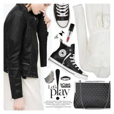 """""""Yoins 23:Leather Look Jacket"""" by pokadoll ❤ liked on Polyvore featuring Converse, MAC Cosmetics, Delfina Delettrez, MustHave, winter2015 and yoins"""