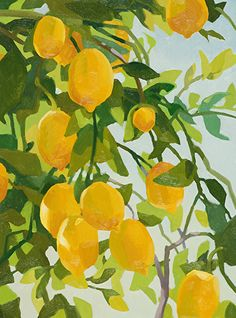Carolyn Lord - Lemons for Lodi- - Painting entry - March 2013 Illustration Inspiration, Art Et Illustration, Gouache Painting, Painting & Drawing, Painting Inspiration, Art Inspo, Posters Vintage, Painting Competition, Arte Sketchbook