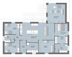 L Løsning med praktisk separat forældre-/børneafdeling Bungalow, Architecture Layout, Far, Plan Drawing, Planer, Layout Design, House Plans, Floor Plans, Houses