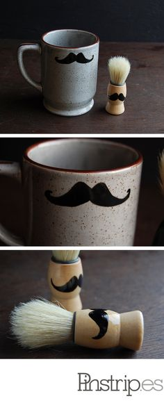 Painted Mustache Shaving Mug and Brush Set: $38