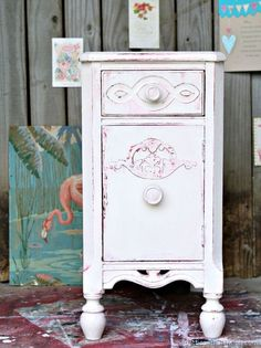 Shabby Chic Pink and White Paint Layers. I forgot how much I love shabby chic. Painting the vanity table was fun and the paint layers are really pretty.