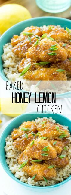 Skip the takeout and go for this healthier baked Honey Lemon Chicken! So easy and such great flavor — We're adding this to our regular rotation!