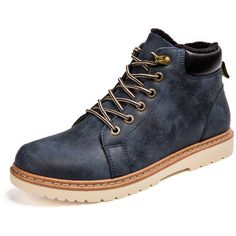 Men's Metal Button High Top Warm Fur Lining British Casual Boots ($26) ❤ liked on Polyvore featuring men's fashion, men's shoes, men's boots, mens lace up shoes, mens round toe cowboy boots, mens boots, mens shoes and mens hi tops