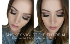 Smokey Violet Eyes using the Too Faced Chocolate Bar Palette | Laura Som...