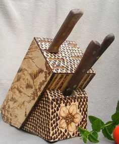 Wood Burned Knife Block with Original Artwork: Roses and Alpine Meadow Scene. $75.00, via Etsy.
