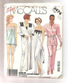 1980's McCall's 3474 Pattern Night Clothing Robe by aBirdOnMyHead