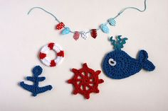 Nautical crochet applique embellish motif - navy blue, red and white