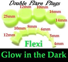 GLOW-IN-DARK-Double-Flare-Plug-Saddle-Flexi-Flexible-Silicone-pierced-3mm-10mm - Bargain price - just listed - Check 'em out!
