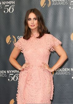 Heida Reed wearing Bora Aksu Ss16 pink lace dress at Golden Nymph Nomenees Party at the 56th Monte-Carlo TV Festival on Wednesday.