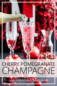 Make a little cherry pomegranate simple syrup to dress up your next glass of champagne. Easy Drink Recipes, Best Cocktail Recipes, Light Recipes, Brunch Recipes, Cooking Recipes, Top Recipes, Vegetarian Recipes, Champagne Sorbet, Alcohol
