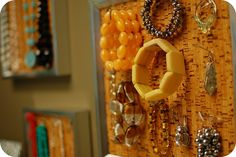 Another super-easy jewelry organizer ~ cork tiles, picture frames,