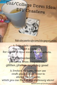 DIY Coasters - perfect for college dorms & university halls. I made a bunch of these for my first year of uni and they're still going strong! They're SO cheap + easy to make, and add the perfect personal touch to your room. Also make great diy presents!