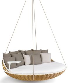 Lively: Swingrest Hanging Lounger by Dedon. Swingrest by Dedon will rock your children - both small and big. A sofa area with urge to move, more lively one cannot spend her or his free time. Wicker Furniture, Furniture Design, Outdoor Furniture, Philippe Starck, Old Farmhouse Kitchen, Hanging Beds, Jean Marie, Suspension Design, Hammock Chair